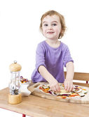 Making pizza with a smile — Stock Photo