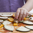Making pizza in close up shot — Stock Photo