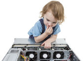 Child with network computer — Stock Photo