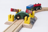 Toy car on railroad crossing — Stock Photo