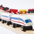 Wooden toy trains on railway — Stok fotoğraf