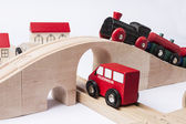 Toy traffic with car and train — Stock Photo
