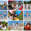Happy Active Family Montage Outside Summer Vacation - Lizenzfreies Foto