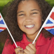 Beautiful Mixed Race Girl with Union Jack Flags — Stock Photo
