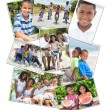 African American Families Montage Outside Summer - Stock Photo