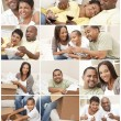 African American Family and Couple Montage at Home — Stock Photo