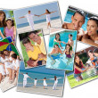 Happy Mother Father & Children Family Beach Park Home - Stock Photo