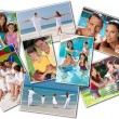 Foto Stock: Happy Mother Father & Children Family Beach Park Home