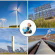 Stock Photo: African American Girl With Globe & Environmental Energy