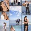 Four Two Couples on a Deserted Beach Montage — Stock Photo