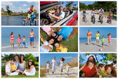 ευτυχής ενεργό οικογενειακή μοντάζ έξω από τις καλοκαιρινές διακοπές — Φωτογραφία Αρχείου