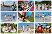 外面的暑假快乐活跃家庭蒙太奇 — 图库照片