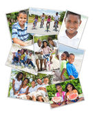 African American Families Montage Outside Summer — Stock Photo