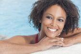Sexy African American Woman Girl In Swimming Pool — Stock Photo