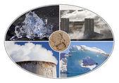 Carbon Footprint Environmental & Pollution Montage — Stock Photo