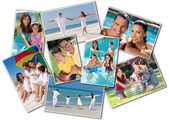 Happy Mother Father & Children Family Beach Park Home — Stock Photo
