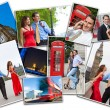 Montage of Romantic Couple in London England — Stok fotoğraf