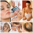 Women Make Up at Health and Beauty Spa Montage — Stock Photo