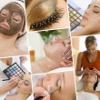 Montage of Beautiful Women at a Beauty Spa — Stock Photo