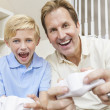 Man and Boy, Father & Son, Playing Video Console Games — Stock Photo