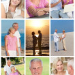 Happy Retired Senior Couple Montage Romantic Vacation - Stock Photo