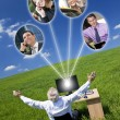 Businessman Computer Network In Green Field - Stock Photo
