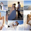 Bride & Groom Married Couple Sunset Beach Wedding - Stock Photo