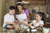 Mother Son Daughter Family Baking In A Kitchen — Stock Photo