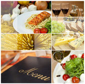 Montage of Restaurant Menu, Food and Drink — Stock Photo