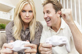 Couple Having Fun Playing Video Console Game — Stok fotoğraf