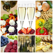 Food & Drink Montage Salad Fruits Pasta Cheese Champagne — Stock Photo