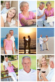 Happy Retired Senior Couple Montage Romantic Vacation — Stock Photo