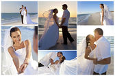 Bride & Groom Married Couple Sunset Beach Wedding — Stockfoto