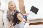 Two Young Women Using Laptop Computer At Home on Sofa — Stock Photo