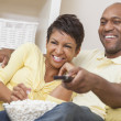 African American Couple Watching Television — Stock Photo