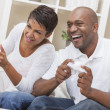 African American Couple Playing Video Console Game — Stock Photo