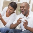 African American Couple Playing Video Console Game — 图库照片