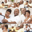 Happy African American Couple Sitting At Home Montage — Stock Photo