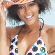 Sexy African American Woman Girl In Swimming Pool - Foto Stock