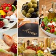 Healthy Italian Mediterranean Food Menu Montage - Foto Stock
