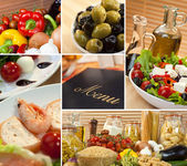 Healthy Italian Mediterranean Food Menu Montage — Stock Photo