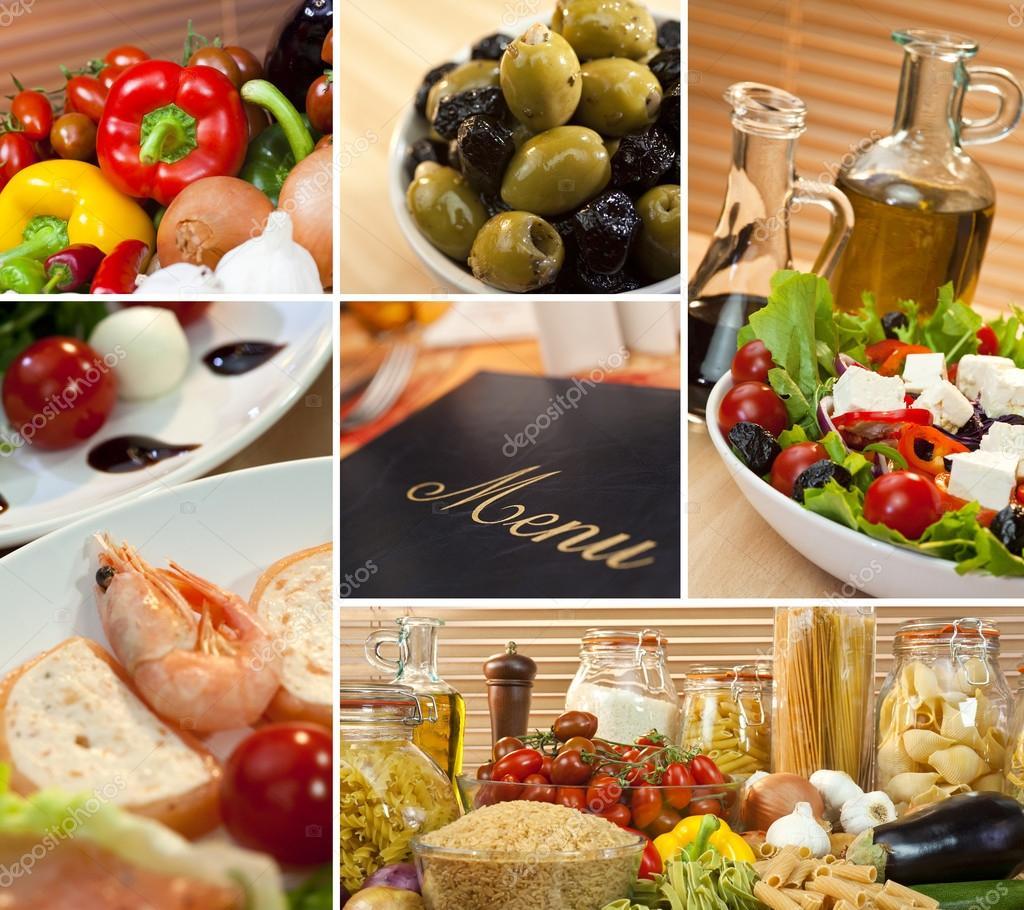 gesunde italienische mediterrane küche menü montage — stockfoto