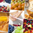Montage Woman & Fresh Healthy Diet Food Lifestyle — Stock Photo
