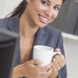 Woman Businesswoman Drinking Coffee in Office — Stock Photo