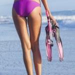 Sexy Woman Beach Girl in Bikini Snorkel Mask Flippers — Stock Photo