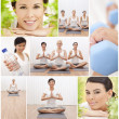 Healthy Yoga Lifestyle Montage Women at Spa — Stock Photo