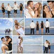 Young Beautiful Couples on a Deserted Beach Montage — Stock Photo