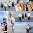 Young Beautiful Couples on a Deserted Beach Montage - Stock Photo