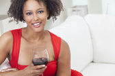 African American Girl Young Woman Drinking Red Wine — Stock Photo