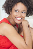 Happy Mixed Race African American Girl Perfect Teeth — Stock Photo